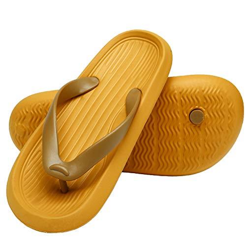 ChayChax Chanclas Hombre Mujer Verano Sandalias de Playa y Piscina Ligero Zapatillas de Ducha Antideslizante(Amarillo,43-44 EU=Etikettengröße 44-45