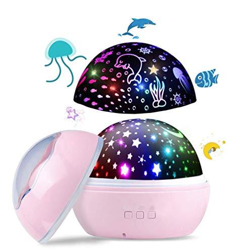 Lachesis Sternenhimmel Projektor Sternenprojektor Nachtlicht Lampe für Kinder Schlafzimmer, 360° Rotation LED Nachtlampe mit 8-Farbig Schlaflicht und 2 Themen, Geburtstage Party Gift Weihnachten