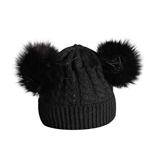 Momola Mignon Bébé Bonnet à 2 Pompon Fourrure Enfant Fille Chapeau Béret à Laine Tricot Torsade Hiver 0 1 2 3 4 5 6ans (Noir)
