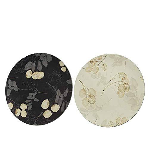 Kaemingk - Salvamanteles con diseño de hojas, color blanco o negro, redondo, 33 cm, 1 unidad
