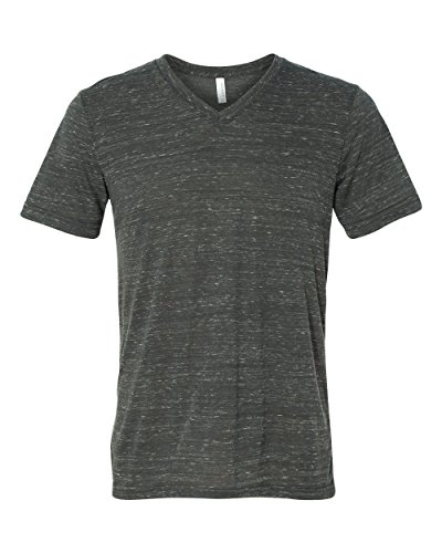 Bella + Canvas Men's Jersey Short Sleeve V-Neck Tee, Charcoal Marble, XX-Large