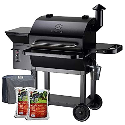 Z GRILLS 2020 Upgrate Wood Pellets Grill 1000 SQIN 20LB Hopper 8-in-1 Outdoor Smoker Grill (ZPG-10002B) Free Cover+2 Bags Oak Pellets