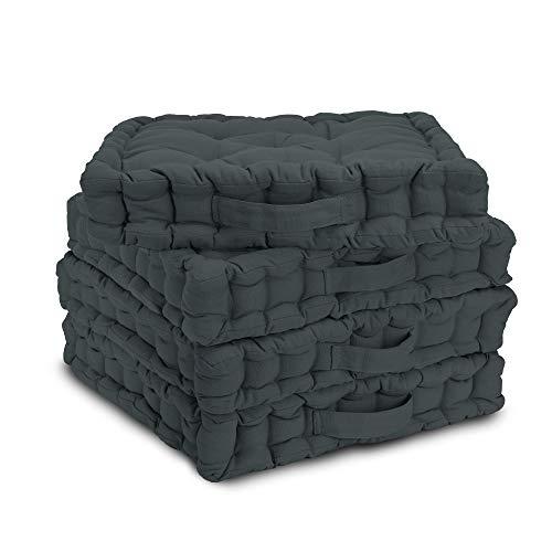 Beautissu 4er Set Matratzenkissen 40x40 cm – Bequemes Bodenkissen Mila mit 8 cm Polsterung - Weiches Sitzkissen mit praktischem Tragegriff - Kissen in Anthrazit