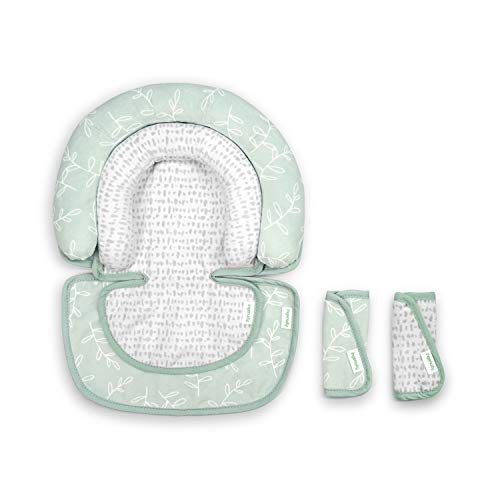 Ingenuity Head in The Clouds 2Piece Head Support Insert & Strap Covers for Car Seats, Strollers, & Bouncers - Fern