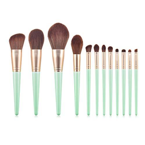 Pinceau De Maquillage 12 Pièces Outils De Beauté En Vrac Poudre Ombre À Paupières Pinceau À Sourcils Poudre S-009 Vert