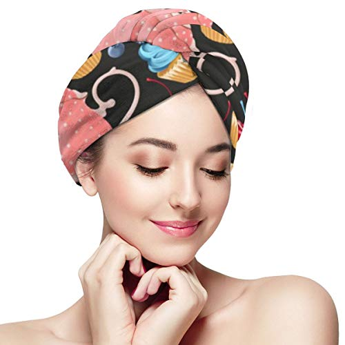 Color Ice Cream Cartoon Doodle Dry Hair Cap Microfibre Hair Towel Wraps Ultra Absorbent Quick Dry Twist Turban with Button for Drying Curly Long Thick Hair 11 inch X 28 inch
