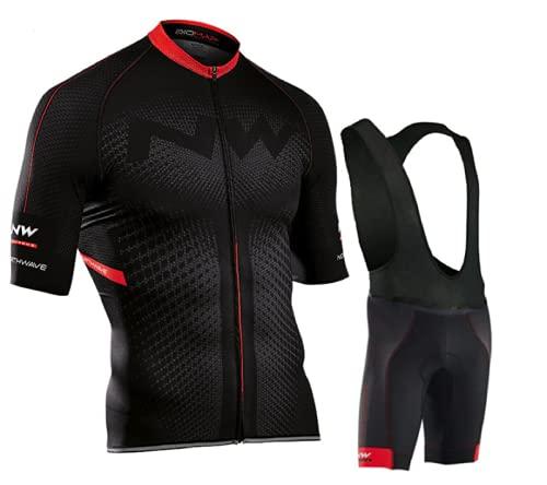 Ducomi Rafael Set Uomo Bici - Completo Ciclismo Composto da Pantaloncini Grembiule + Maglia con Zip - Completino Abbigliamento per Bicicletta Traspirante con Fondello Gel Rinforzato (Black, 2XL)