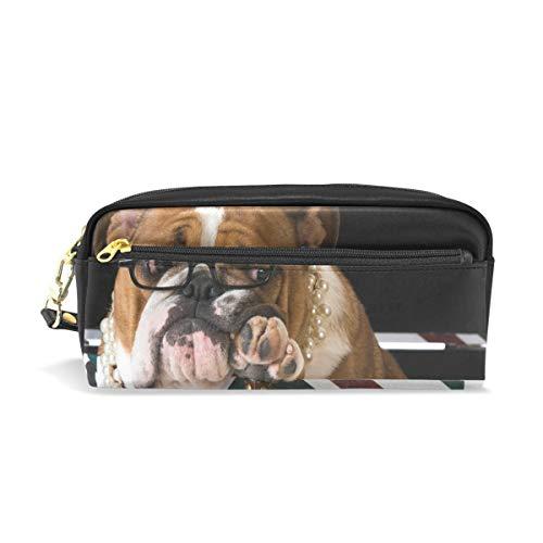 Potlood Case Grote Capaciteit Houders Schattig Dier Engels Bulldog Vlag Pen briefpapier zakje met Rits Make-up