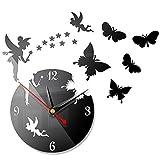 Orologio da Parete, Orologio da Parete 3D Specchio Adesivo Wall Sticker Fai da Te Orologio da Parete Salotto Tondo Moderno Farfalle Decorativo per Casa, Ufficio, Hotel