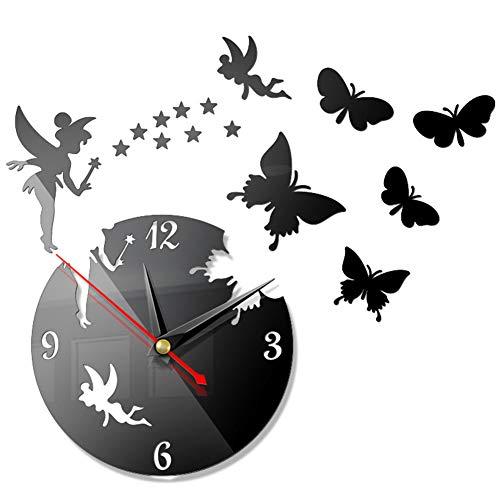 FANDE DIY Wanduhr, 3D rahmenlose Schmetterling Fee Mädchen Wandaufkleber Spiegel Wanduhr, Moderne Wohnzimmer Schlafzimmer Küche Büro Dekoration, Wandaufkleber Uhr
