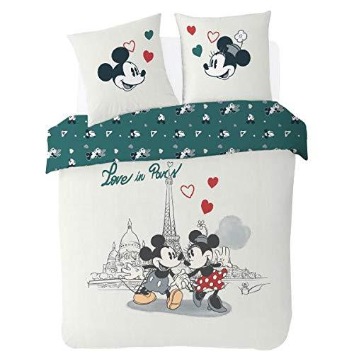 Funda nórdica de 200 x 200 cm, diseño de Mickey & Minnie – Love in Paris + 2 fundas de almohada de 63 x 63 cm, 100% algodón de 54 hilos, edición limitada