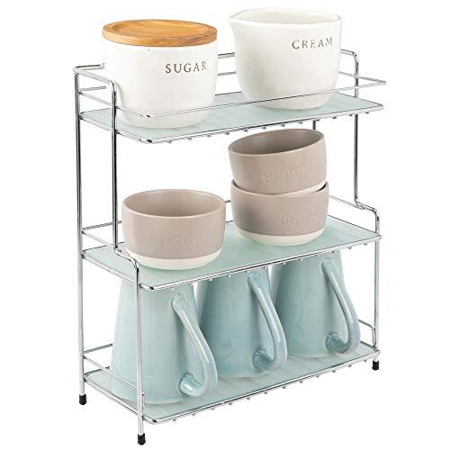 mDesign Gewürzregal – kleines Standregal mit 3 Ebenen aus Metall für Küche oder Bad – freistehendes Küchenregal für Gewürze, Tassen Vorratsdosen etc. – silberfarben und durchsichtig