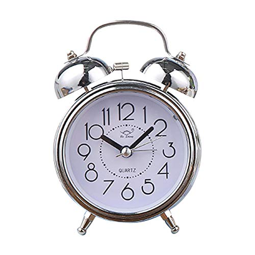 Zuoox Despertador vintage, puntero silencioso, doble campana, luz nocturna (plateado)