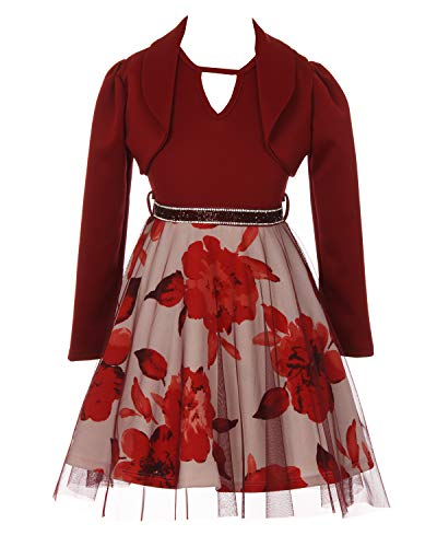 J Kara Women's Beaded Long Jacket Dress, Burgundy, 4