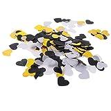 amagogo Papier Konfetti Bunt Tischkonfetti Fasching Partydeko Hochzeit Tischdeko - Schwarz Weiß Gold Herz