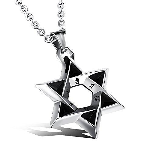 iLove EU Edelstahl Anhänger Halskette Silber Schwarz Sanskrit Mantra Davidstern Hexagramm Retro Herren,mit 50cm Kette