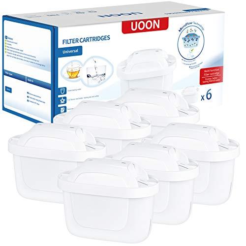 UOON 6 Cartuchos Filtros de Agua Compatible con Jarra BRITA MAXTRA+ Filtros para el Agua Reducen la Cal y el Cloro(6 Unidades)