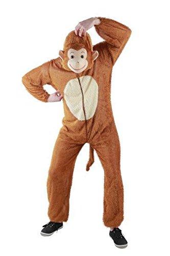 Foxxeo Affen Kostüm für Erwachsene - Herren Größe S-XXXXL - Tier Onesie Kostüme Damen Jumpsuit AFFE Männer Overall Fasching Karneval Anzug, Größe XL