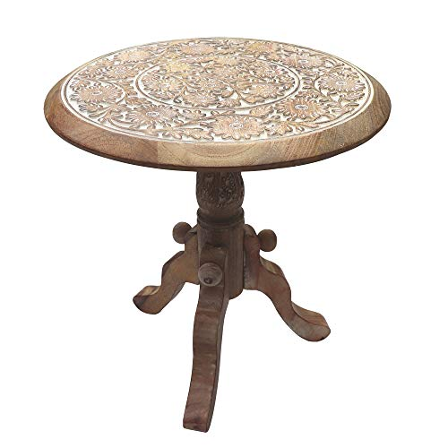 The Urban Port Intricately Carved Round Top Mango Wood Side End Table with Pedestal Base, Brown and White