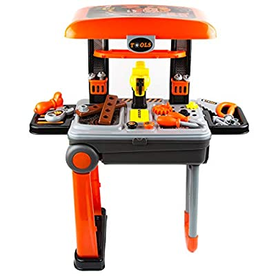 Toytykes 2 in 1 Deluxe Tool Set - Hours of Fun - Great for Kids of All Ages - Enhance Mental Ability - Comes with 26 Tools in Bag for Kids by Brooklyn Deals