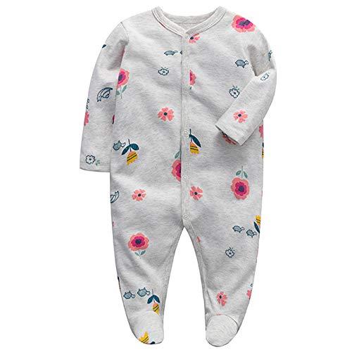 Bebé Mamelucos Monos con Pies Pijama Manga Larga Peleles Algodón Onesies Sleepsuit Ropa Niñas Niños Trajes 0-3 meses