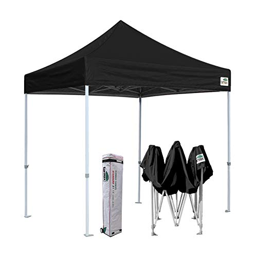 Eurmax 8x8 Ez Pop up Canopy Outdoor Heavy Duty Instant Tent Pop-up Canopies Sun Shelter with Deluxe Wheeled Carry Bag (Black)