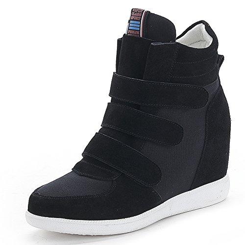 Jamron Mujer Moda Tacón de Cuña Oculto Zapatillas Zapatos del Elevador Cómoda Gamuza & Tela Zapatos de Deporte Negro 4791 EU39.5