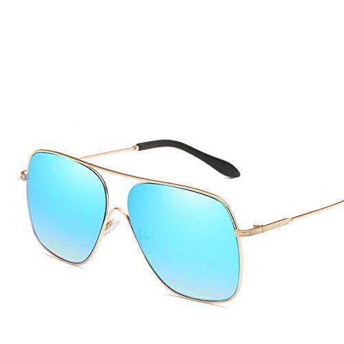 Luziang Europa y Las Gafas de Sol de los Estados Unidos de Grandes Marco Tendencia Metal Gafas de Sol al Aire Libre de HD Anti-UV,Conducción Viajar Deporte al Aire Libre
