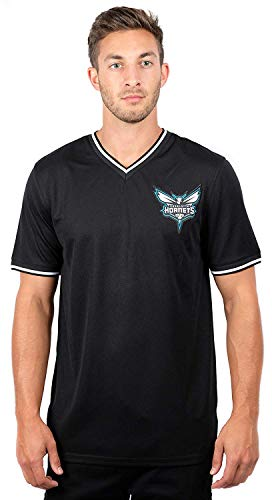 Ultra Game NBA Charlotte Hornets Mens Jersey V-Neck Mesh Short Sleeve Tee Shirt, Black, X-Large