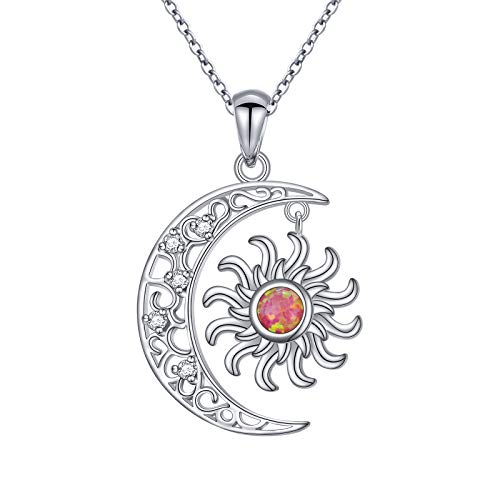 """DAOSHANG 925 Sterling Silver Synthetic Opal Celtic Moon and Sun Pendant Necklace for Women Birthday Jewelry Gift, 18"""" Chain"""