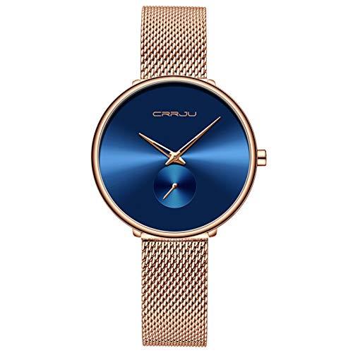 Moda Mujeres Mira Lujo Golden Casual Simple Damas Vestido Diario Malla Reloj de Pulsera Minimalista Reloj Hembra de Cuarzo Impermeable