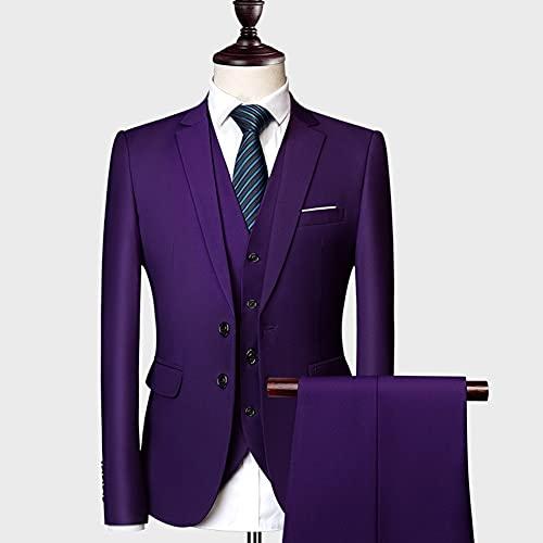 SSMDYLYM Los Hombres se adaptan Delgado Novio de la Boda Desgaste de los Pantalones de Traje Casual de 3 Piezas de Negocios(Blazer+Pantalones+Chaleco) (Color : Purple, Size : Asia 6XL 88 to 92kg)