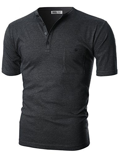 Ohoo Mens Slim Fit Short Sleeve Henley Shirts With Chest Pocket/DCT022-CHARCOAL-S