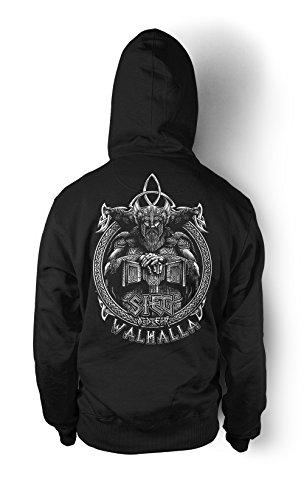 uglyshirt89 Sieg oder Walhalla Männer und Herren Kapuzenpullover | Odin Wikinger Valhalla Geschenk | M1 FB (XL, Schwarz)