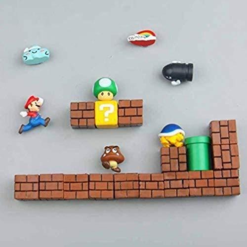 ZP-MIN 63 imanes 3D de Super Mario Bros para nevera, pegatinas divertidas para niños y niños, regalo de cumpleaños, 19 combinaciones, 23 combinaciones