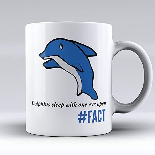 N\A Taza de café con Delfines - Taza de café con Delfines - Regalo Divertido para los Amantes de los Delfines - 'Un Ojo Abierto Amantes de los Delfines - 11 oz
