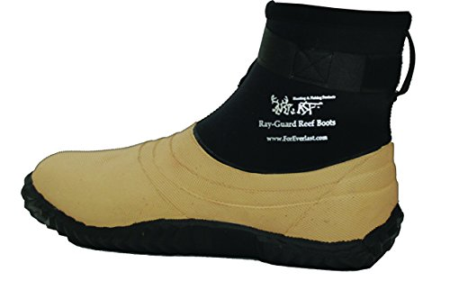 Ray-Guard Reef Wading & Fishing Boots for Men and Women, Tan, Hard Soled Vulcanized Rubber Bottom, Neoprene, Lightweight, Comfortable, Waterproof