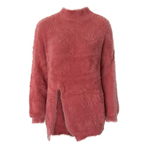 Ivan Johns Clothing Damen Pullover mit Rollkragen und Federgarn - rot - Einheitsgröße
