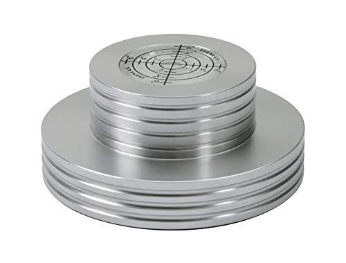 Dynavox Plattenspieler-Stabilizer PST300, Auflagegewicht mit Libelle aus Aluminium für Plattenspieler, Gewicht 300 g, Silber
