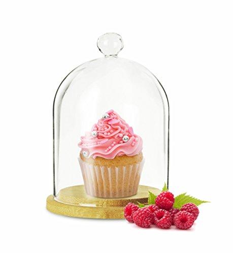 Sendez glazen klok met houten bord 19 cm glazen kap glazen koepel muffin klok Gladom kap