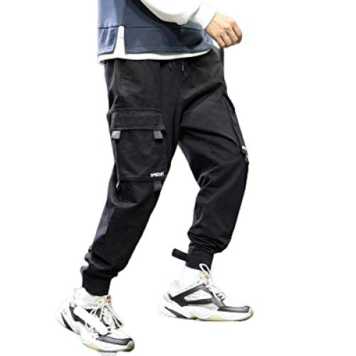 brandless Pantalon pour Hommes Salopette Ceinture Poche décoration Japonais lâche Sarouel Poutre Pieds Pantalon