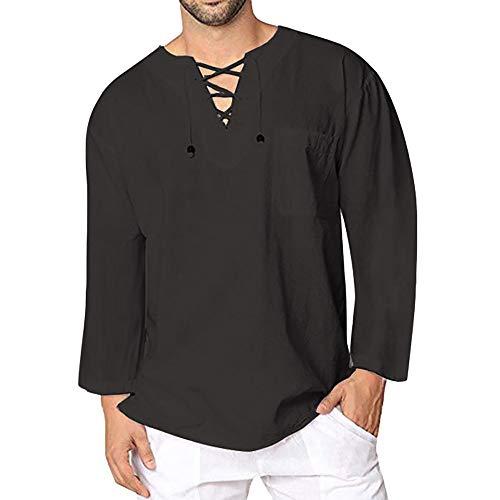 Celucke Leinenhemd Herren Mittelalter Langarm Freizeithemd Männer Yoga Shirt Fisherman Sommerhemd Casual Leinen Leichte Sommer Strand Atmungsaktives Hemd (Schwarz, XXXL)