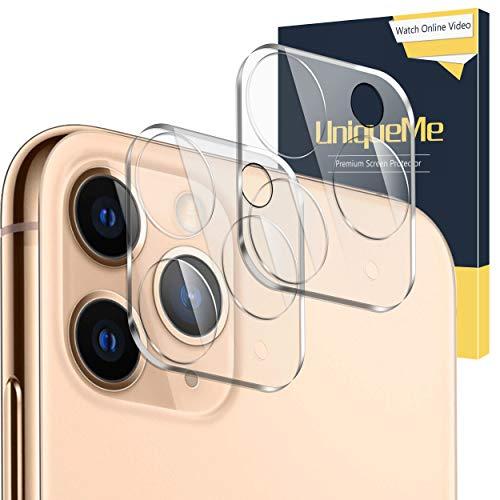 UniqueMe [2 Piezas] Protector de Pantalla de Lente de Cámara para iPhone 11 Pro/iPhone 11 Pro MAX, [9H Dureza] [HD Film] [Anti-Mancha] Cristal Vidrio Templado de Lente de Cámara Premium