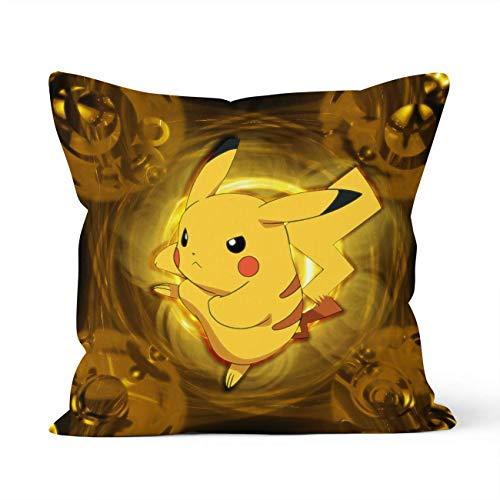 YHML Fundas de almohada decorativas de doble cara con cierre de cremallera oculto, para regalo de Pokémon Pikachu, decoración del coche, sofá, cama, tamaño 40 cm x 40 cm