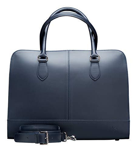 Su.B 13,3 Zoll Leder Laptoptasche für Damen - Umhängetasche, Handtasche, Aktentasche - mit Trolleybefestigung - Dunkelblau