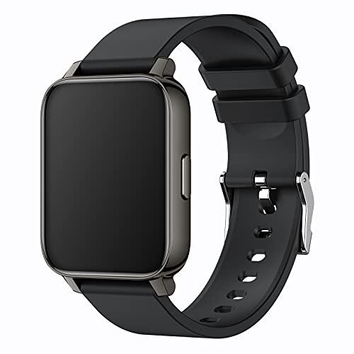 WSJZ Reloj Inteligente para Mujeres/Hombres,Monitores De Actividad con 24 Modos Deportivos,Rastreadores De Actividad Física con Monitor De Sueño,Pulsera Inteligente para Teléfono Android/iOS,Negro