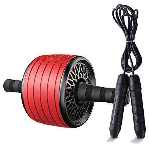 LEIHUA TPR - Rodillo para ejercicios abdominales (antirruido), con esterilla para ejercicios abdominales y musculares, para ejercicios abdominales, color rojo con cuerda.