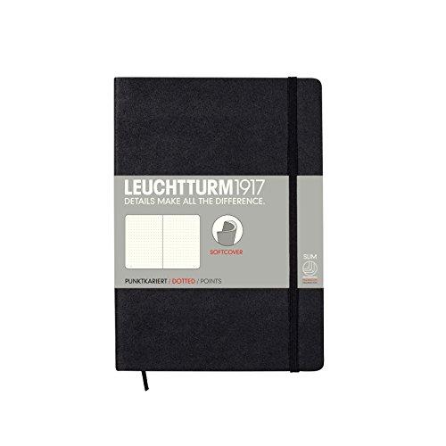 LEUCHTTURM1917 324804 Notizbuch Medium (A5), Softcover, 123 nummerierte Seiten, dotted, Schwarz