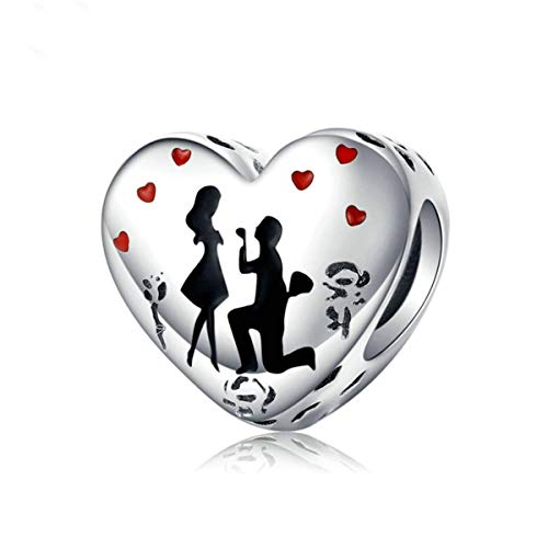 Annmors Propose Confession Charm Valentine's Day Pendant for Bracelets-925 Sterling Silver Openwork Bead Charms,Charms for Bracelets and Necklaces,Gifts for Women Girls