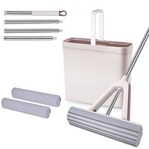 MOOSOO Sponge Mop and Bucket Set with 2 Pcs Self Cleaning&Super Absorbent PVA Sponge Hands-Free Mop Heads, 4 Extendable Handle for Hardwood Laminate Tile Marble Ceramic Floors